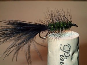 Original Blessing Woolly Bugger pattern with dark olive chenille, black marabou and hackle