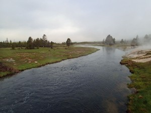 Low clouds and steam shroud a deep run on the Firehole at Ojo Caliente