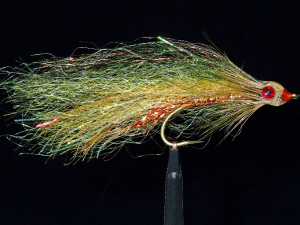 Olive and brown synthetic featherhead