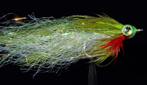 Olive and white synthetic featherhead