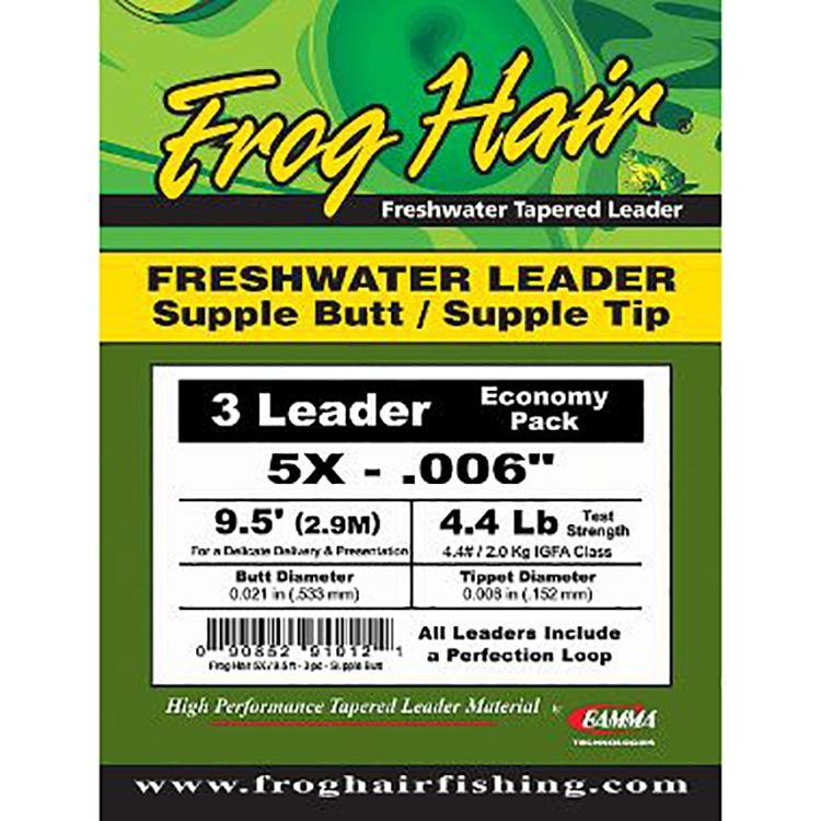 Frog Hair Freshwater Leader - Supple Butt 3-Pack - 9.5'