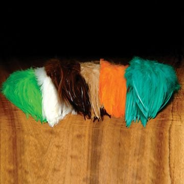 "Hareline 5-7"" Dyed-Over-White Strung Saddle Hackle"