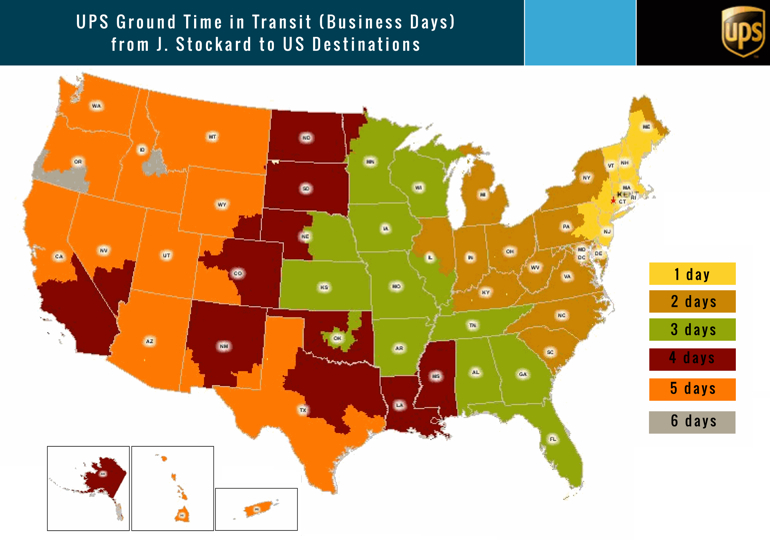 UPS ground time in Transit from J.Stockard to US Destionations